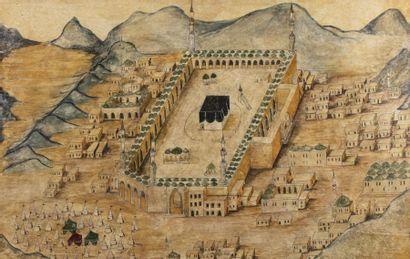Vue du site de La Mecque et alentours  Aquarelle...