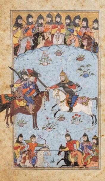 Scène de Shahnama  Miniature sur papier,...