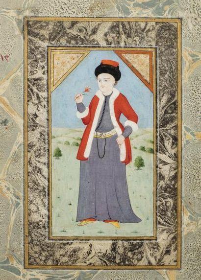 Prince Ottoman  Page d'album, miniature peinte...
