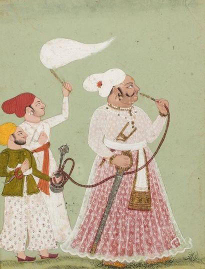 Raja fumant le narghilé  Miniature peinte...