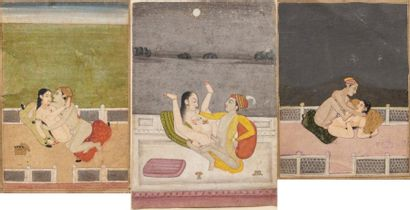 Scènes érotiques indiennes  Trois miniatures...