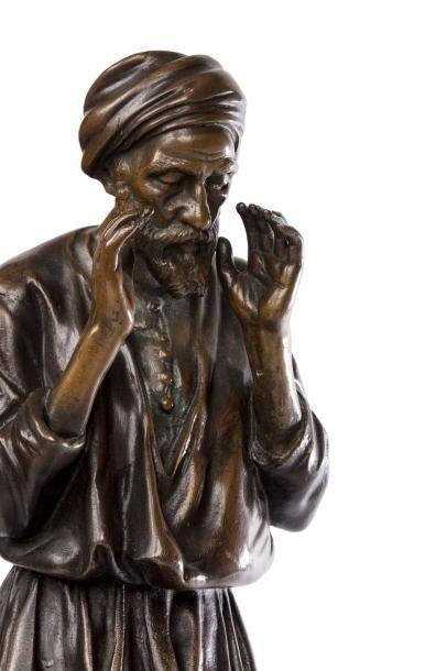 D'après Antoine BOFILL (1890-1953)  La prière  Epreuve en bronze à patine brune...