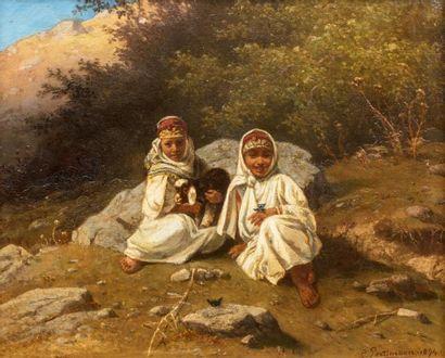 PORTTMANN  Jeunes filles et leur agneau  Huile...