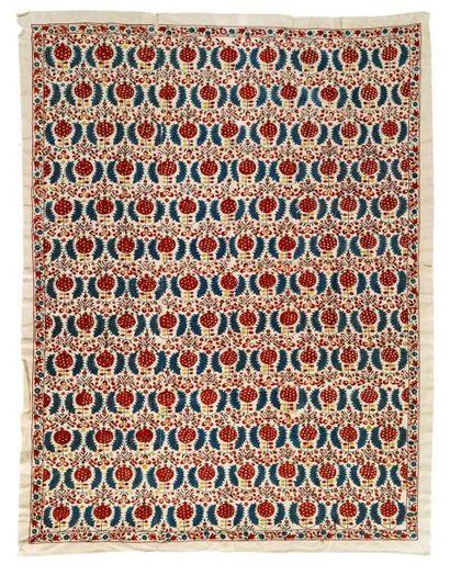 Broderie ottomane  en trois lais, en coton...