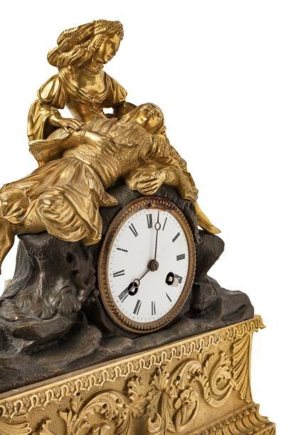 Lord Byron dans les bras de la Grèce  Pendule philhéllenique en bronze ciselé à...