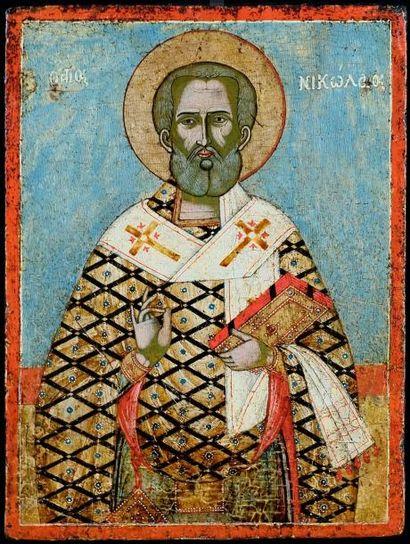 Saint Nicolas. Grèce . XVIIe-XVIIIe s.  Pose...