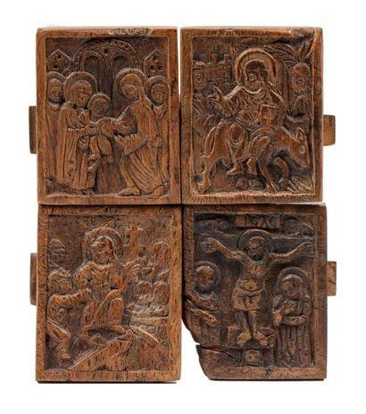 Quadriptyque en bois sculpté. Grèce XVIIIe...