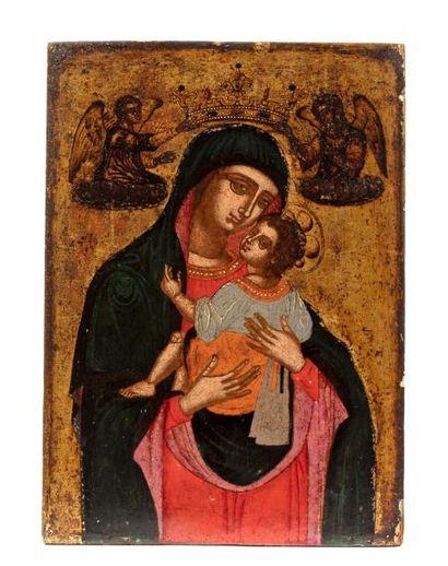 Mère de Dieu Eleousa. Crète-Vénétie. 1600-1650....