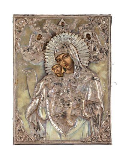 Rare icône représentant la Vierge à l'Enfant...