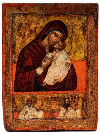 Mère de Dieu Eleousa. Grèce . 1700  La Vierge...