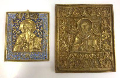 Lot de 2 icônes en laiton doré, l'une à décor...