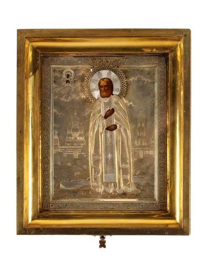 Icône du vénérable Saint Séraphim de Sarov. Russie fin XIXe s.  L'un des saints...