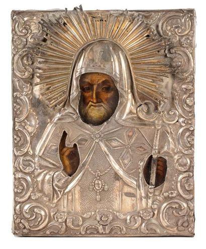 Icône de Saint Mitrophane de Voronej.  Tempera...