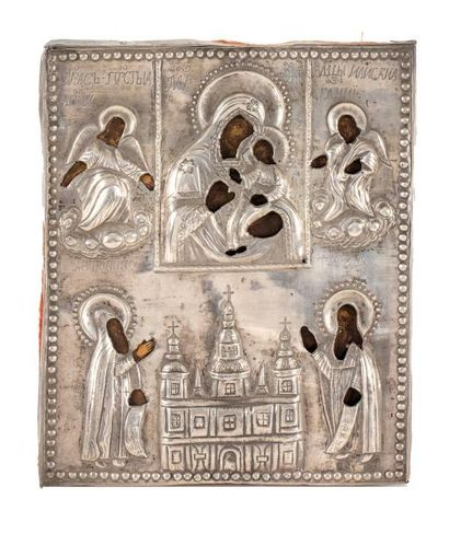 Icône de la Vierge à l'Enfant.  Dans un cadre,...
