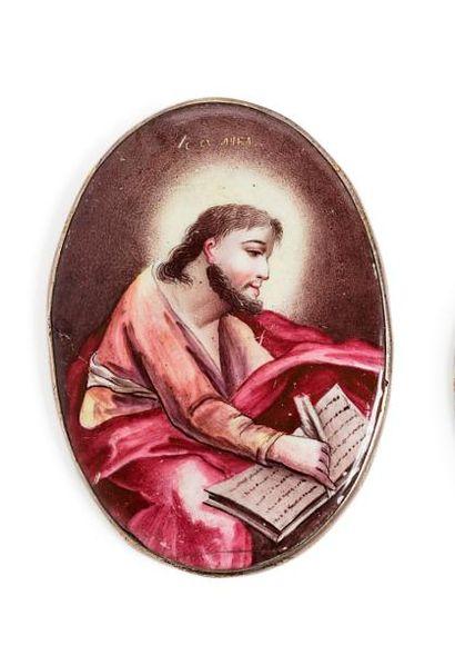 Icône représentant Saint-Luc.  Émail peint...