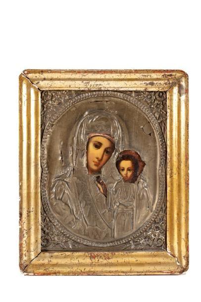 Icône de la Vierge de Tikhvine.  Oklad en...