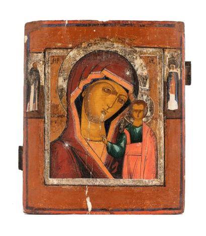 Icone de la Vierge de Kazan.  A droite la représentation de Saint-Hélène, à gauche...