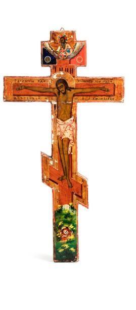Croix orthodoxe en bois peint, à décor polychrome...