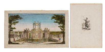 Vue perspective de SPB, gravure du XVIIIe...