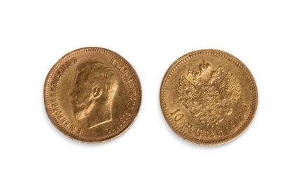 Lot de 2 pièces de 10 roubles en or datées...