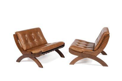 Marco COMOLLI (XX-XXIè)  Paire de fauteuils...
