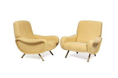 Marco ZANUSSO (1916 - 2001)  Paire de fauteuils...