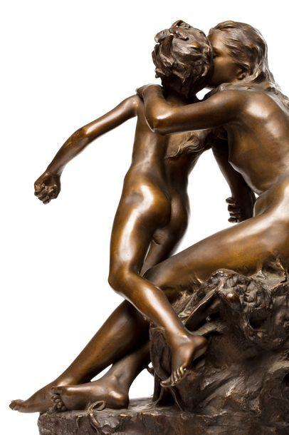 """Raoul LARCHE (1860 - 1912)  """"La Prairie et le Ruisseau""""  Sculpture en bronze à patine..."""