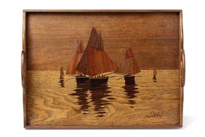 Emile GALLE (1846 - 1904)  Plateau rectangulaire...