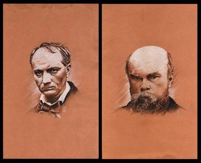 H.B.  Portraits de Verlaine et Baudelaire...