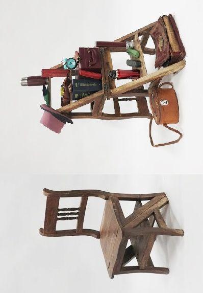 Chaise faisant escabeau de bibliothèque en...
