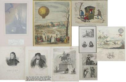 Lot de neuf pièces encadrées comprenant reproductions...