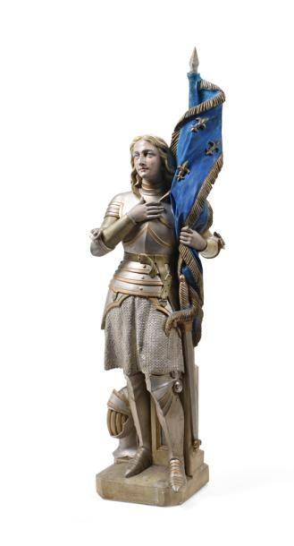 Statue en plâtre représentant Jeanne d'Arc...