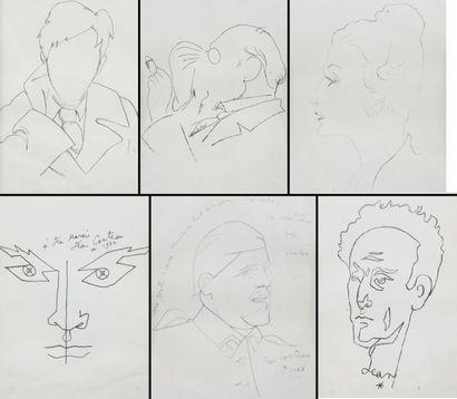 Lot de six reproductions d'après Cocteau