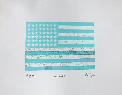 D'après Ron AGAM (né en 1958),  Drapeau américain...