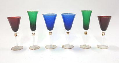 Service de verres Murano pour deux personnes...