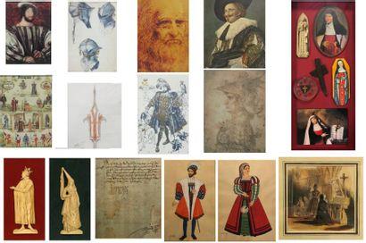 Ensemble de pièces encadrées et reproductions:...