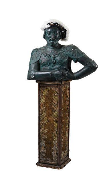 Buste de François Ier en plâtre et composition...