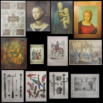 Lot de reproductions et pièces encadrées...