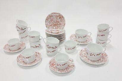 Partie de service à thé et chocolat en porcelaine,...
