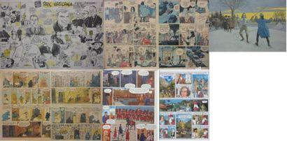 Lot de sept reproductions de planches de...
