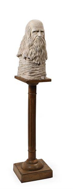 Buste de Léonard de Vinci en pierre reconstituée...