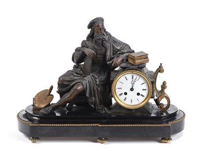 Pendule en régule représentant Léonard de...