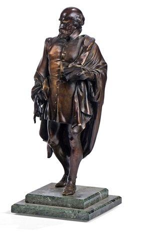 Bronze à patine brune représentant Shakespeare...