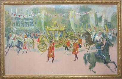 Reproduction représentant une parade royale...