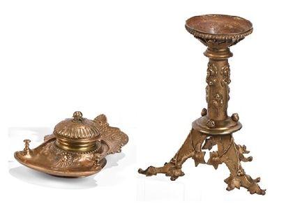 Lot comprenant un encrier en bronze doré...