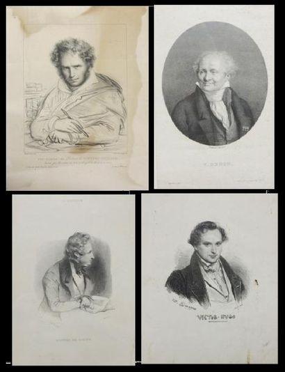 Lot de quatre gravures représentant V. Denon,...