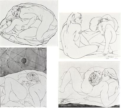 Pierre Yves TREMOIS  Lot de quatre gravures...