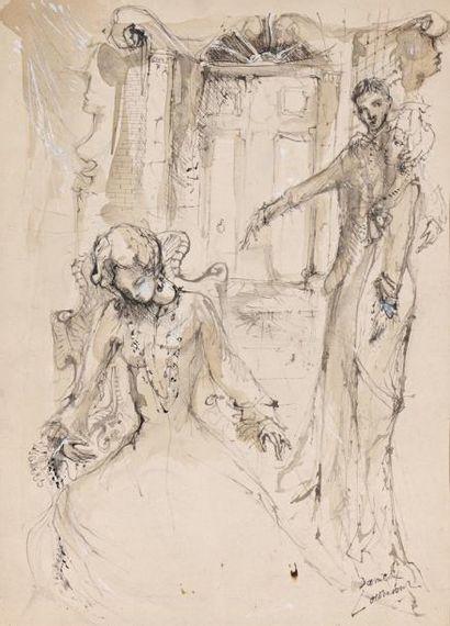 Daniel LOURADOUR (1930 – 1981)  Scène galante...