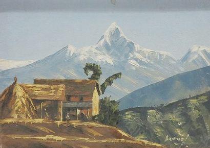 Ecole française du XXe  Paysage de montagne...