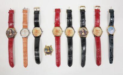 Lot de neuf montres, les cadrans à décor...
